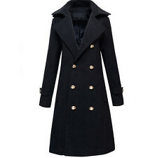 Men Women Military Double Breasted Wool Blend Winter Warm Long Coat Jacket Vogue