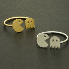 Cool Pac Man Ring | Gold & Silver Player Icon | Atari Arcade Video Game Jewelry