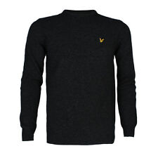 Mens Lyle & Scott Lambswool Charcoal Crew Neck Knitted Jumper