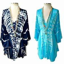 BOHO Tie Dye Tunic Deep V Neck Convertible Dress/Top Dolman Turquoise or Navy OS