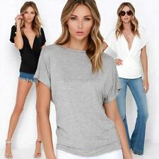 Sexy Women V-neck Tops Tee Short Sleeve Shirt Cotton Casual Blouse Loose T-shirt