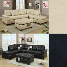 2 Pcs Sectional Sofa Couch Bonded Leather Modern Living room Set Sectional Only