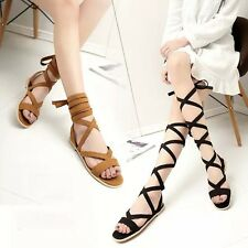 Womens Summer Roman Sandals Strappy Lace Up Flats Gladiator Open Toe Beach Flats