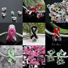 Lots Enamel Ribbon Charm European Bracelet Bead HIV AIDS Breast Cancer Awareness