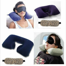 Inflatable Travel Flight Pillow Neck U Rest Air Cushion+ Eye Mask+Earbuds 2014