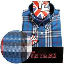 Warrior Short Sleeve Button Down Shirt JONES Mod Skinhead Blue Red White Brown