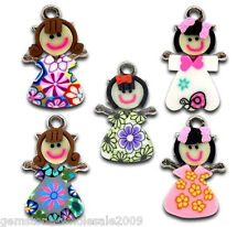 Wholesale W09 Mixed Multicolor Polymer Clay Girl Charms Pendants