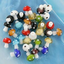 20x Handmade Lampwork Glass Murano Mushroom Loose Bead Charm Spacer Findings