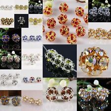 Disco Hip Hop 8/10 mm Ball Hollow Crystal Rhinestone Loose Spacer Bead 19 Colors
