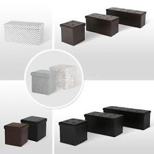 Footrest Foldable Storage Box Faux Leather Folding Storage Ottoman Seat T4S1
