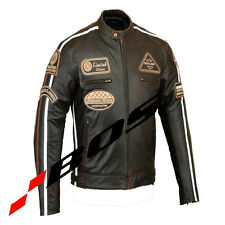 Motorcycle Men's Black Leather Motorcycle Jacket Brand New All Sizes.