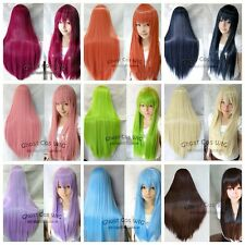 80cm long straight hair cosplay wig  15 color options