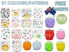 Baby Reusable cloth nappies + free insert liners washable, one size adjustable