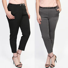 TheMogan Soft Drapey Tapered Leg Cuffed Trousers Pleated Cropped Pants