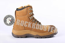 Hot Nubuck leather Work Boots Steel Toe Safety Side Zip Lace Up Ankle Boot