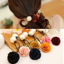 Fashion Women Rose Flower Pearl Elastic Hair Band Rope Scrunchie Ponytail Holder