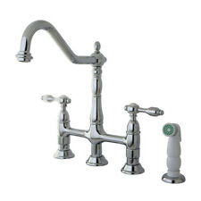 Kingston Brass Tudor Double Handle Widespread Kitchen Faucet with Spray