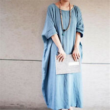 vintage womens long loose dress summer linen casual long robe gown Ball Gown New