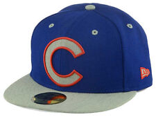 Official MLB Chicago Cubs Full Heather XL Logo New Era 59FIFTY Fitted Hat