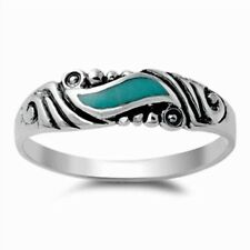 Vintage Style Turquoise Stone Ring 925 Sterling Silver Wave Swirl Turquoise Band