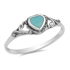 Vintage Style Turquoise Stone Ring 925 Sterling Silver Heart Ring
