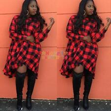 Sexy Women Plus Size Long Sleeve Plaid Check Top Blouse Casual Loose Shirt Dress