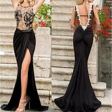 Womens Backless Party Prom Dress Long Lace Dress Formal Bridesmaid Evening Gown