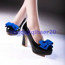 Ladies Platform Patent Leather Bowties High Chunky Heels Pumps Court Shoes Size