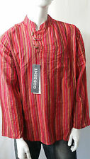 Mens Striped Cotton Kurta Collarless Grandad Casual Shirt Hippie Festival XXL