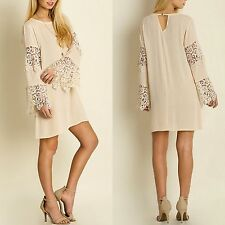 Umgee USA Boho 70's Crochet Lace Bell Sleeve Dress Natural Cream Flowy Fit S-L