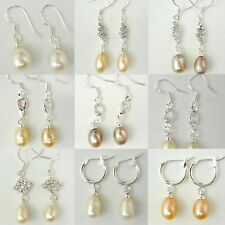 Nice Genuine Fresh Water Cultured Pearl Silver Earring Stud Jewelry Dangle