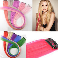 Fashion Punk Clip in on Hair Extensions Piece Long Straight Synthetic 11 Colors