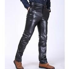 Fashion mens faux leather fur lined thick straight pants trousers SZ 29-39 inch