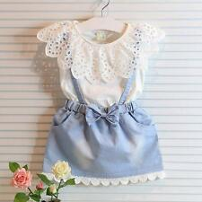 Kids Girls Lace Collar Top Sleeveless Denim Skirt Dress Baby One-Piece Sundress
