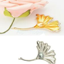 Vintage Ginko Leaf Pattern Pearls Brooch Pin Jewelry Gifts