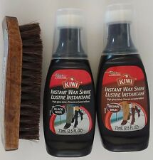 HORSEHAIR SHOE BRUSH & KIWI INSTANT WAX SHINE BLACK OR BROWN KIT, SELECT: Items