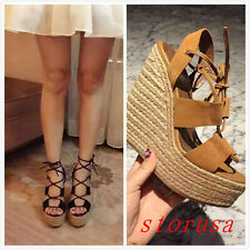 Stylish Women High Wedge Heel Suede Sandals Lace Up Summer Ankle Boots Platform