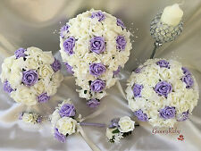 Bouquet Wedding Flowers Ivory Lilac Rose Crystal, Bride, Flower Girl