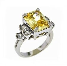 5CTW Radiant Light Yellow Canary Emerald Cz+Round Clear CZ Sides Rhodium Ring