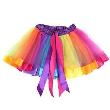 Baby Kids Girls Dancewear Rainbow Birthday Tutu Tulle Satin Princess Skirt Funny