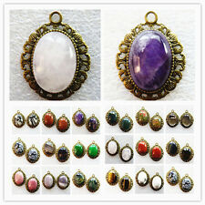 wholesale! Exquisite Bronze Inlay 25x18mm Mixed Gemstone Oval Pendant Bead YY-31
