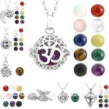 Hollow Silver Aromatherapy Cage Locket Pendant Gemstone Bead Chain Necklace Gift