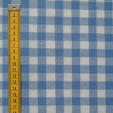 Oilcloth Blue Gingham Check Fabric Material PVC Fat Quarter By The Metre