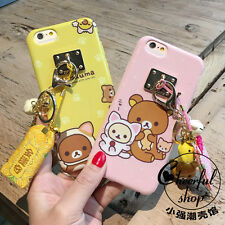 Lovely 3D Relax bear Rilakkuma Doll Strap Tassel Cover Case For iPhone 6 6S Plus