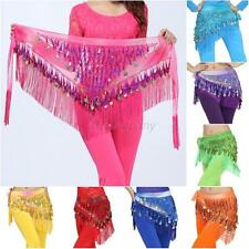 Chiffon Coins Tassels Sequins Triangle Hip Scarf Skirt Belly Dance Costume NEW