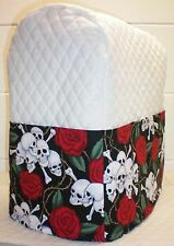 White Quilted Skulls & Roses Kitchenaid 7 & 8qt Lift Bowl Stand Mixer Cover ****