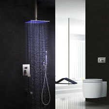 Brushed Nickel Bathroom Square Rain Shower Set LED 3 Sprayer Tub Mixer Faucets