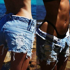 Sexy Womens Punk Style Ripped Hole Shorts Jeans Beach Casual Denim Hot Pants