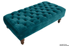 TIFFANY CHENILLE MEDIUM CHESTERFIELD BUTTONED UPHOLSTERED FOOTSTOOL OTTOMAN