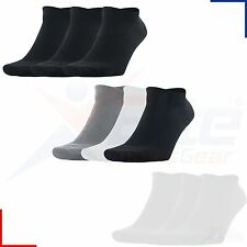Mens Womens Trainer Gym Ankle Sport Socks BLACK WHITE 3 or 6 Pairs